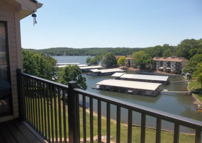 view of lake and marina from deck