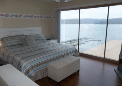 view of lake from bedroom