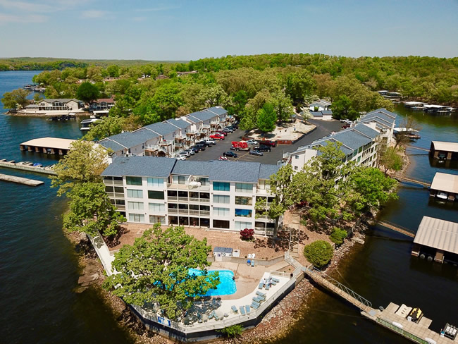 aerial view of lakefront condo complex