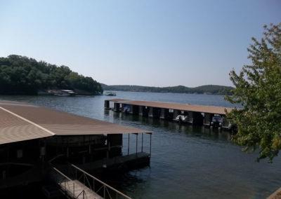 view of docks and lake
