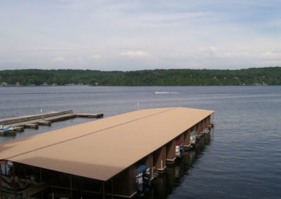 view of lake and marina