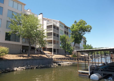 view of condo buildings from lake