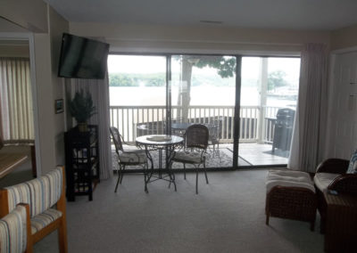 living room with deck in background